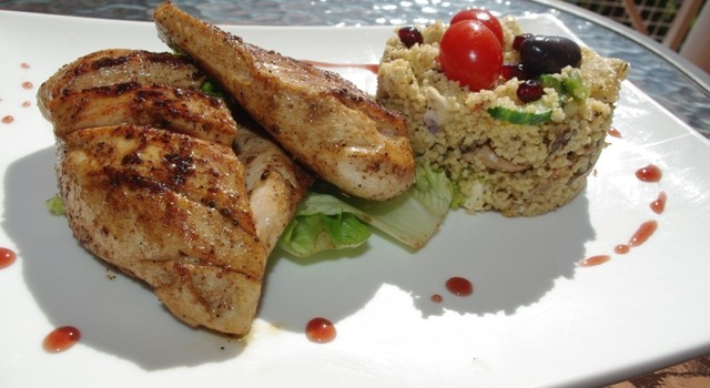 Chicken is a firm favourite for anyone with a sporting background. Give the chicken a smell before cooking it, to check that it is not off. Grilled chicken and cuscus...