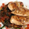 Chicken and Spinach Tomato Chicken breasts Spinach Onions Tomato paste Tomato Boil some water on the stove with a teaspoon of salt. Add the spinach and boil for about 10...
